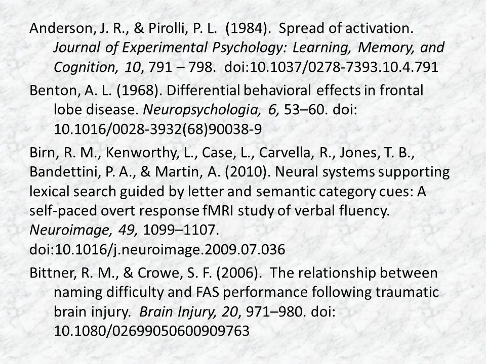 Anderson, J. R., & Pirolli, P. L. (1984). Spread of activation. Journal of Experimental Psychology: Learning, Memory, and Cognition, 10, 791 – 798. do