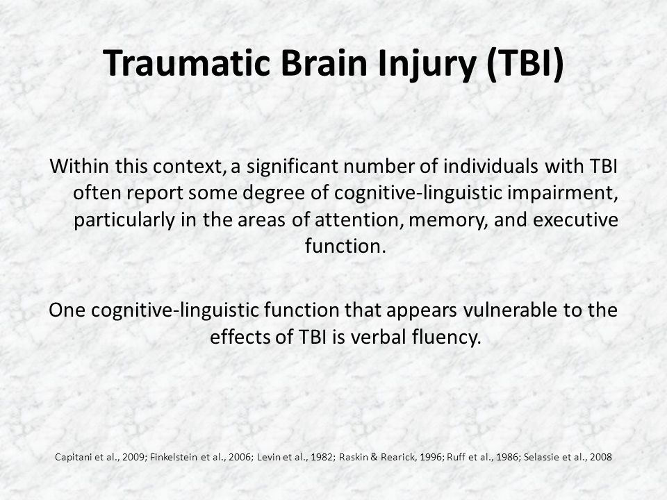 Primary Objective The present investigation sought to determine whether participants with moderate to severe traumatic brain injury (MOD/S TBI) would differ both quantitatively and qualitatively from participants with no brain damage (NBD).