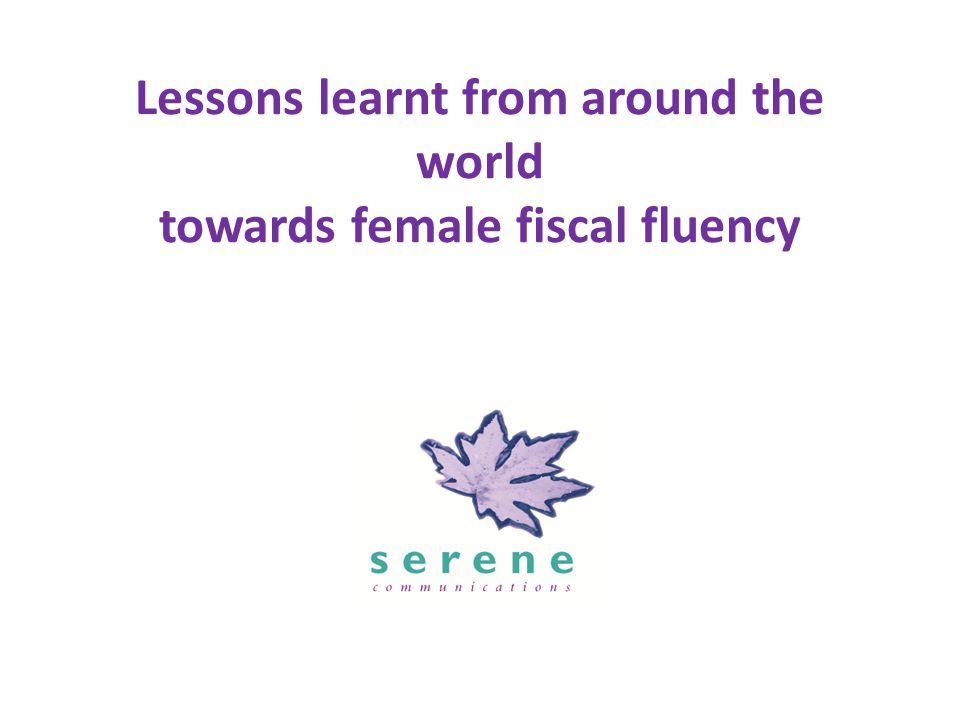 Lessons learnt from around the world towards female fiscal fluency