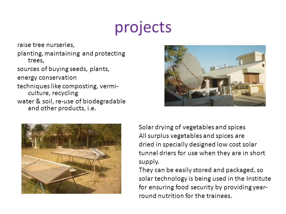 projects raise tree nurseries, planting, maintaining and protecting trees, sources of buying seeds, plants, energy conservation techniques like composting, vermi- culture, recycling water & soil, re-use of biodegradable and other products, i.e.