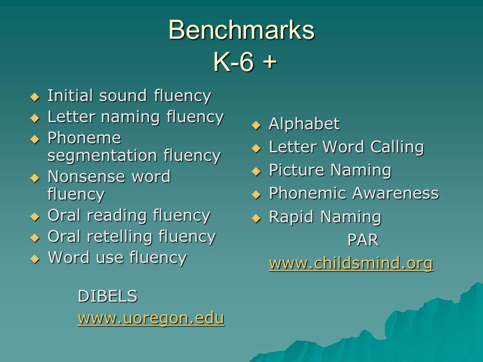 Benchmarks K-6 +  Initial sound fluency  Letter naming fluency  Phoneme segmentation fluency  Nonsense word fluency  Oral reading fluency  Oral