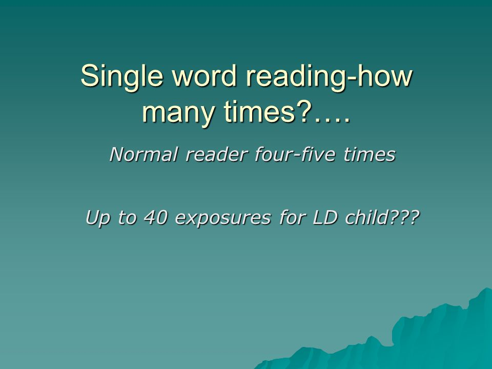 Single word reading-how many times ….