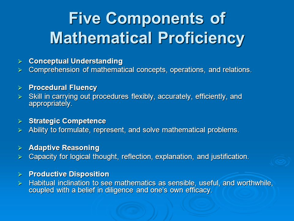 Five Components of Mathematical Proficiency  Conceptual Understanding  Comprehension of mathematical concepts, operations, and relations.