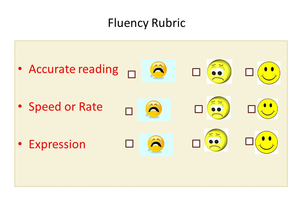 Fluency Rubric Accurate reading Speed or Rate Expression