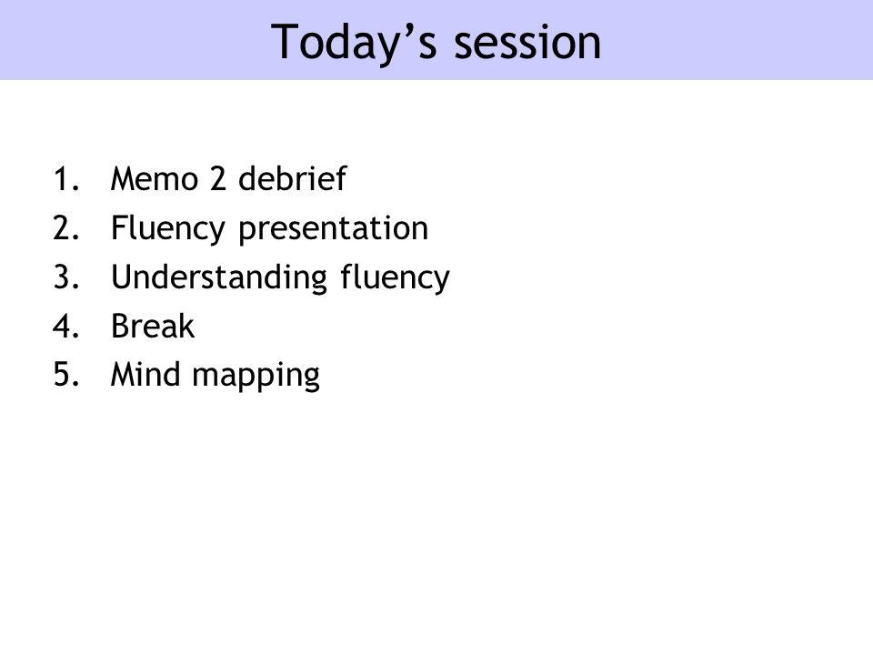 Today's session 1.Memo 2 debrief 2.Fluency presentation 3.Understanding fluency 4.Break 5.Mind mapping