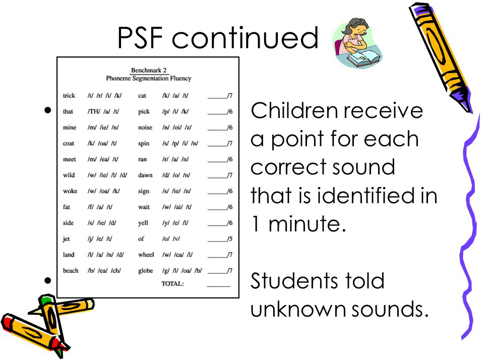 Phoneme Segmentation Fluency (PSF) Students are read a list of words one at a time and told to tell the sounds heard in a word.