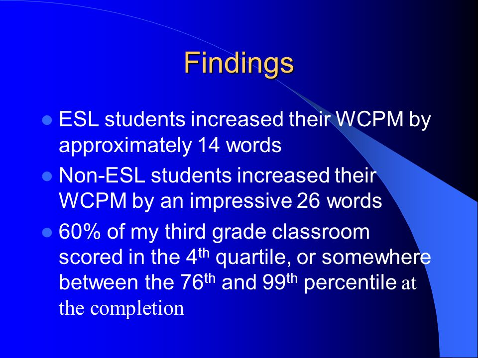 Findings ESL students increased their WCPM by approximately 14 words Non-ESL students increased their WCPM by an impressive 26 words 60% of my third grade classroom scored in the 4 th quartile, or somewhere between the 76 th and 99 th percentile at the completion