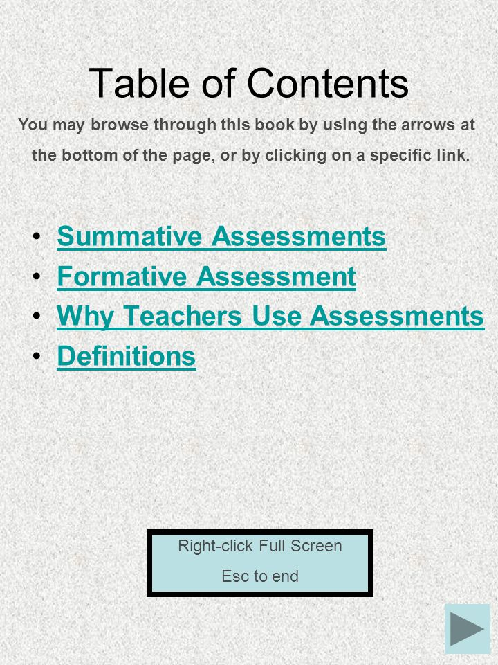 Table of Contents Summative Assessments Formative Assessment Why Teachers Use Assessments Definitions You may browse through this book by using the arrows at the bottom of the page, or by clicking on a specific link.