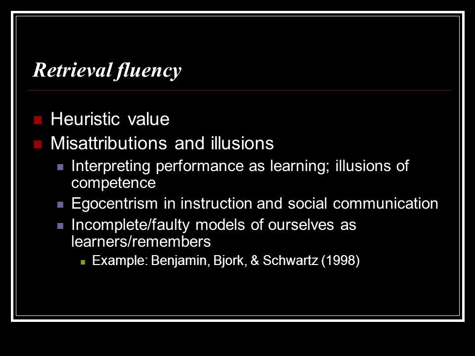 Benjamin, Bjork, & Schwartz (1998) Phase 1: 20 (easy) general-knowledge questions E.