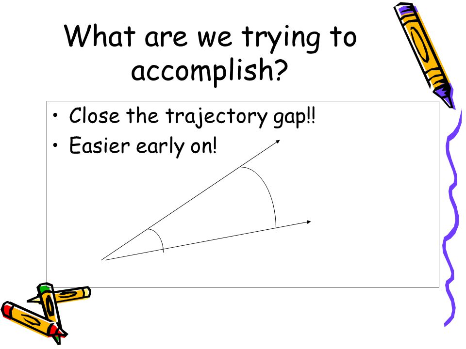 What are we trying to accomplish Close the trajectory gap!! Easier early on!