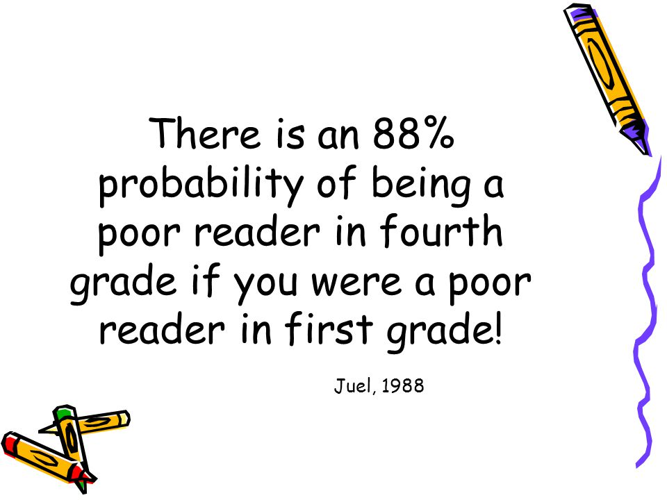 There is an 88% probability of being a poor reader in fourth grade if you were a poor reader in first grade.