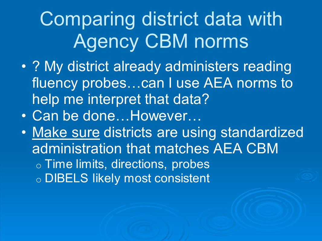 Comparing district data with Agency CBM norms .