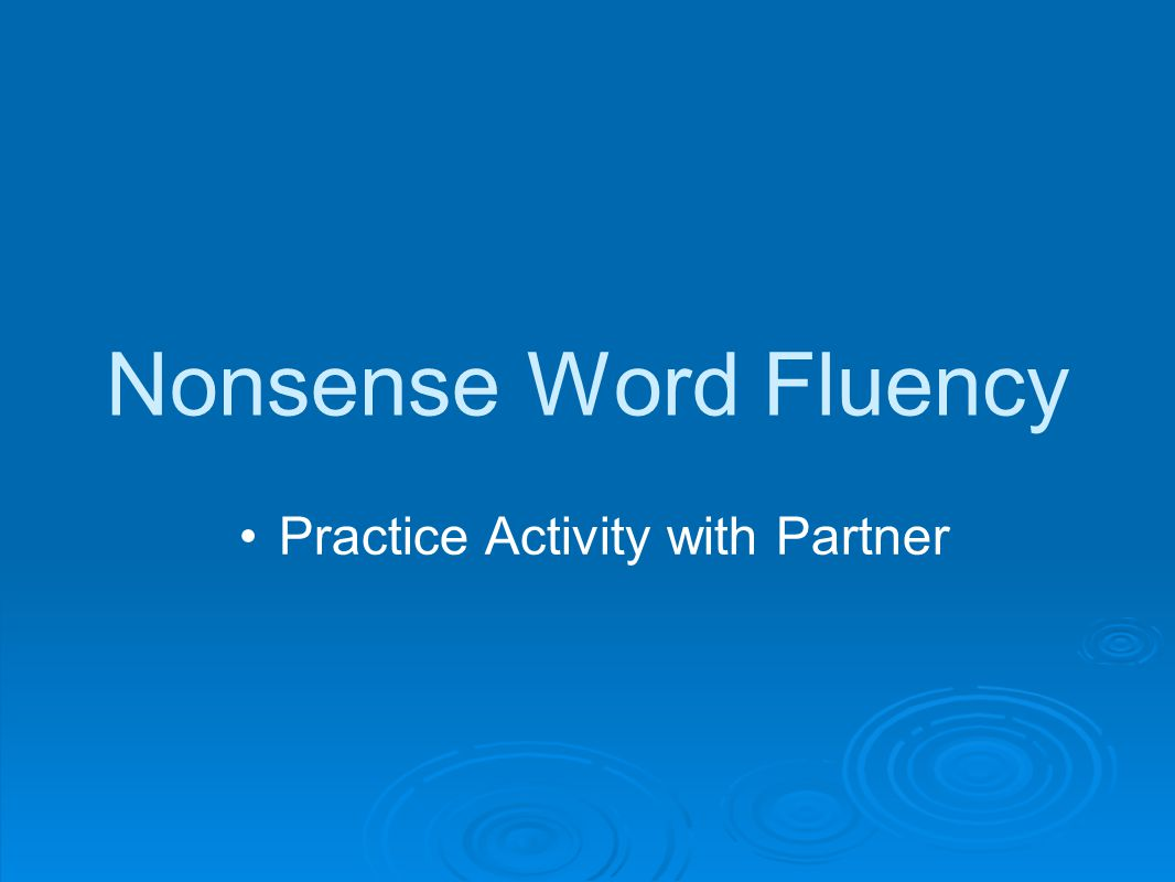 Nonsense Word Fluency Practice Activity with Partner