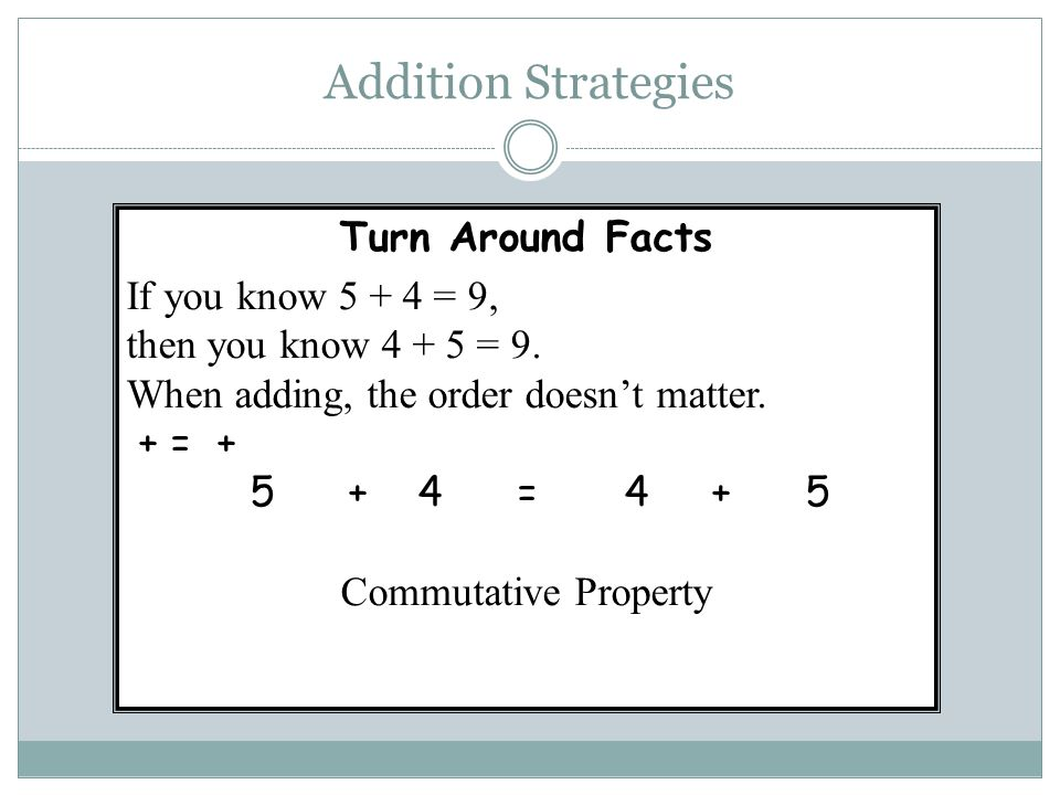 Addition Strategies Turn Around Facts If you know 5 + 4 = 9, then you know 4 + 5 = 9. When adding, the order doesn't matter. + = + 5 + 4 = 4 + 5 Commu