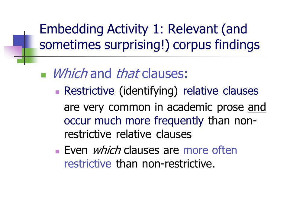 Embedding Activity 1: Relevant (and sometimes surprising!) corpus findings Which and that clauses: Restrictive (identifying) relative clauses are very common in academic prose and occur much more frequently than non- restrictive relative clauses Even which clauses are more often restrictive than non-restrictive.
