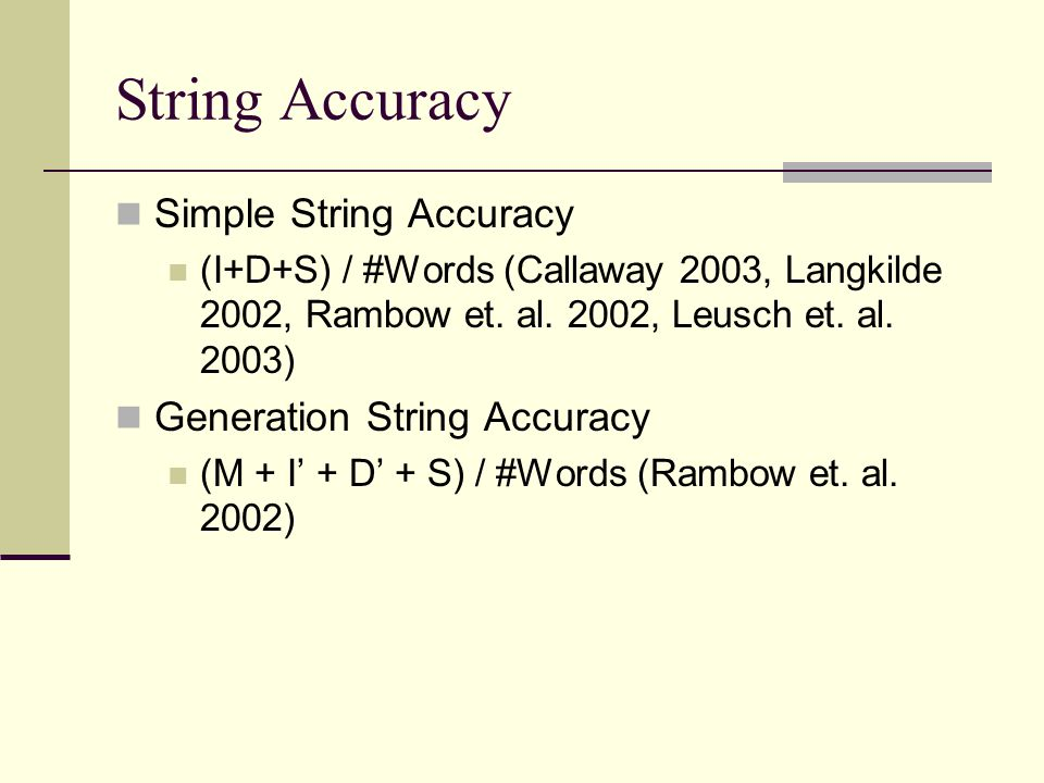 Simple String Accuracy