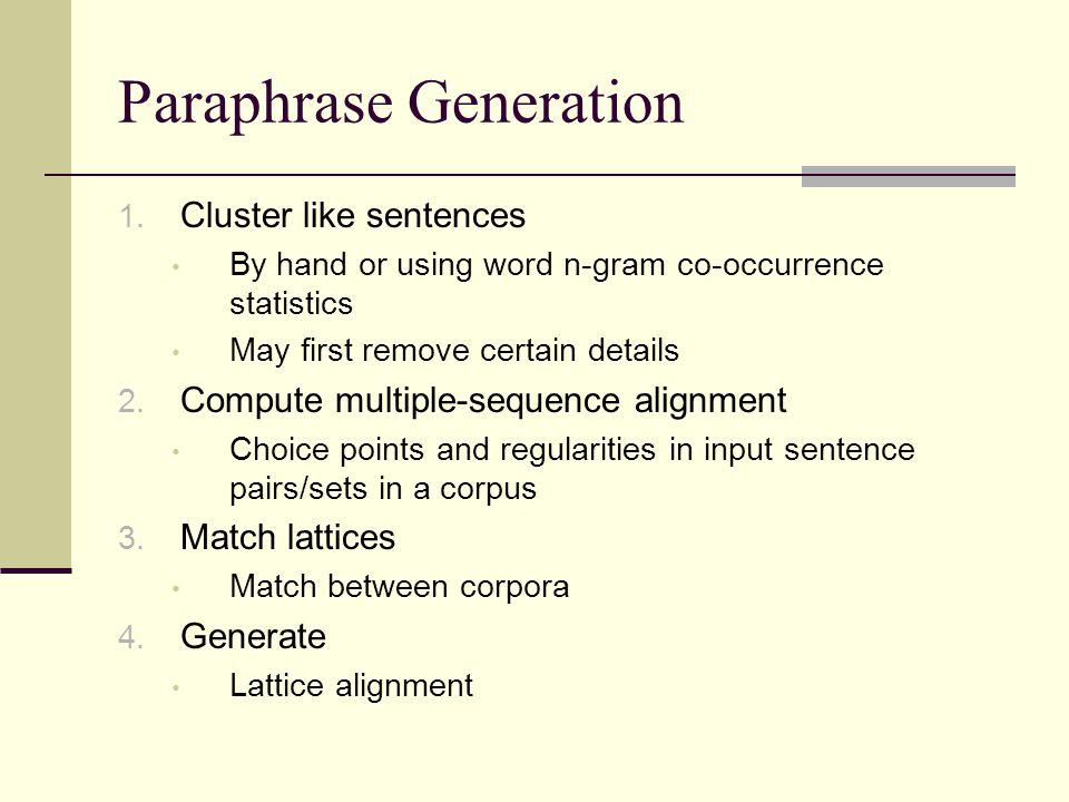 Paraphrase Generation 1.