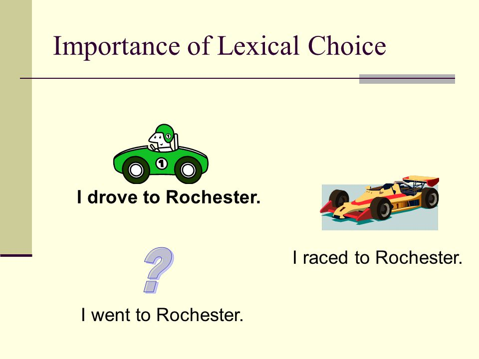 Importance of Lexical Choice I drove to Rochester. I raced to Rochester. I went to Rochester.
