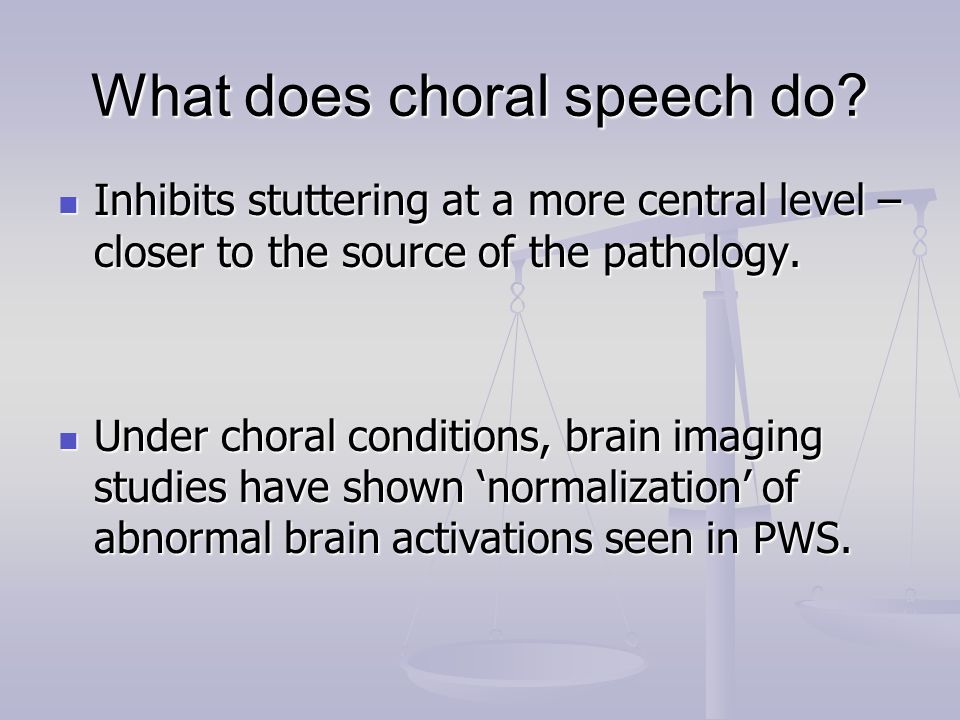 What does choral speech do.