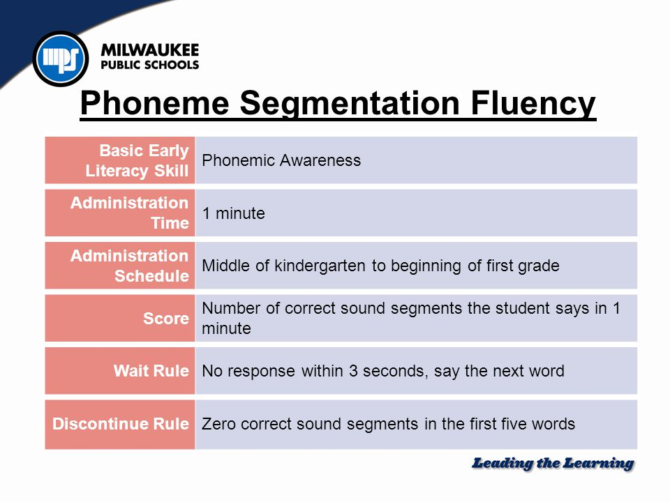 Basic Early Literacy Skill Phonemic Awareness Administration Time 1 minute Administration Schedule Middle of kindergarten to beginning of first grade