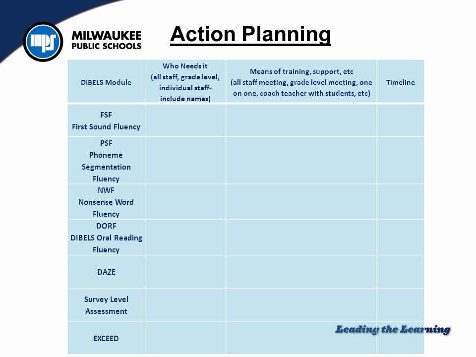 Action Planning DIBELS Module Who Needs it (all staff, grade level, individual staff- include names) Means of training, support, etc (all staff meetin