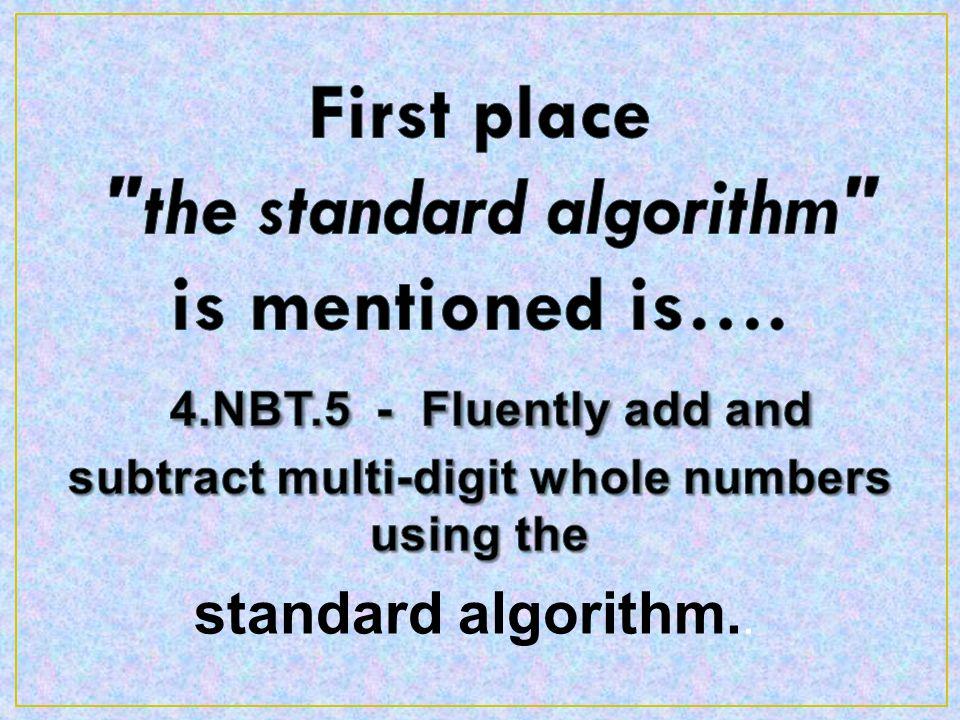 standard algorithm..
