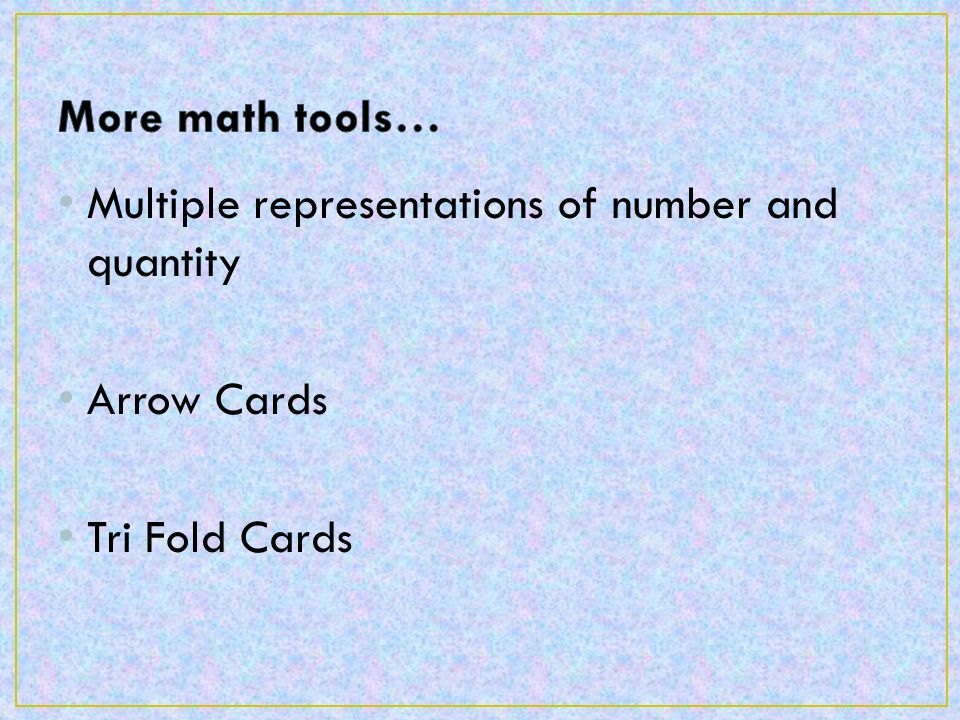 Multiple representations of number and quantity Arrow Cards Tri Fold Cards