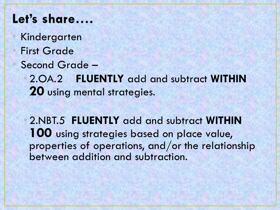 Kindergarten First Grade Second Grade – 2.OA.2 FLUENTLY add and subtract WITHIN 20 using mental strategies.