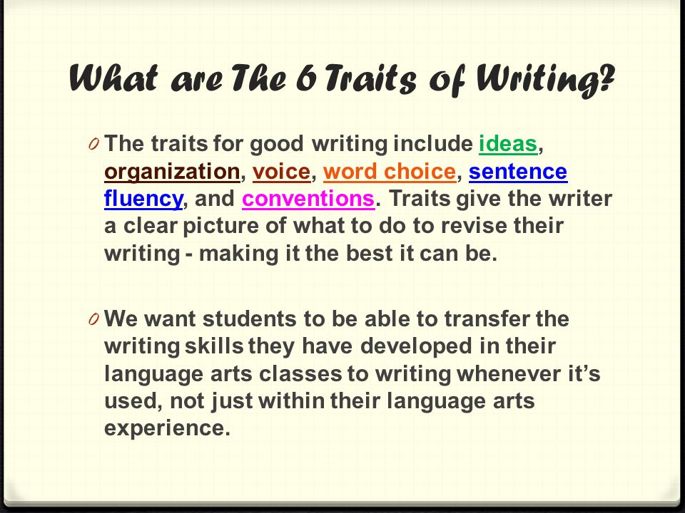 What are The 6 Traits of Writing.