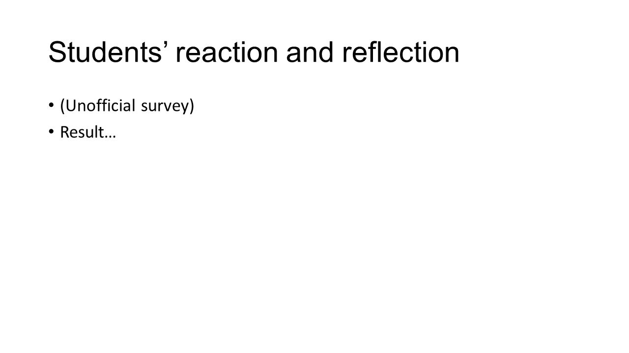 Students' reaction and reflection (Unofficial survey) Result…