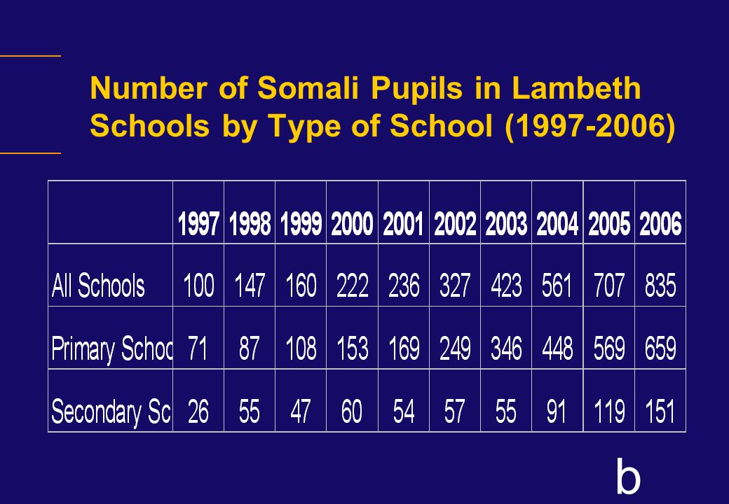 b Number of Somali Pupils in Lambeth Schools by Type of School (1997-2006)