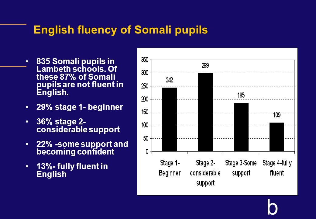 b English fluency of Somali pupils 835 Somali pupils in Lambeth schools.