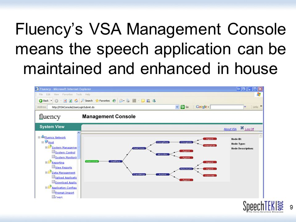 9 Fluency's VSA Management Console means the speech application can be maintained and enhanced in house