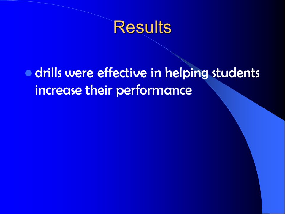 Results drills were effective in helping students increase their performance