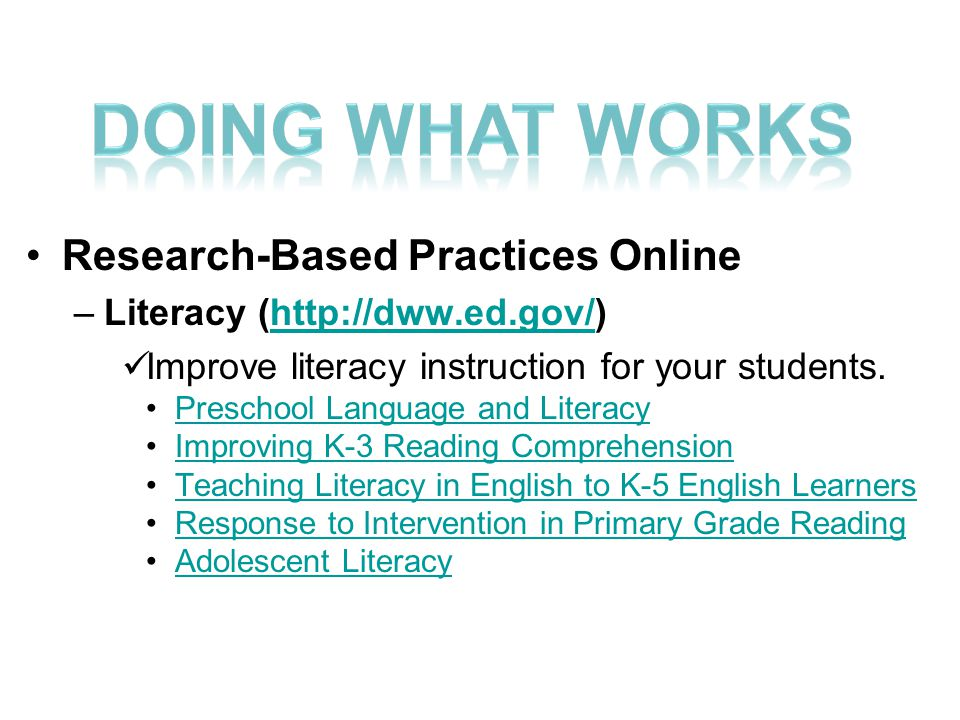 Research-Based Practices Online –Literacy (http://dww.ed.gov/)http://dww.ed.gov/ Improve literacy instruction for your students.
