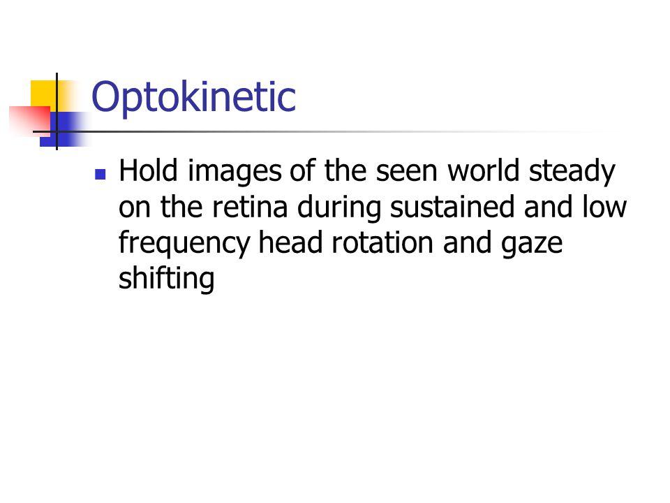 Smooth pursuits Hold the image of a moving target on the fovea Symptoms (difficulties noted) Jerking eye movements/midline tremors Excessive head movements while reading Poor performance in sports Movements are in one direction