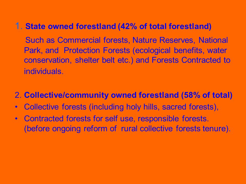 The historical changes and the current ongoing Reform of Collective Forest Tenure System Historical changes of forest tenure systems Current ongoing reform for rural collective forest tenure system Progress of the ongoing reform Issues and challenges
