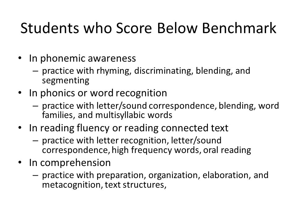 Students who Score Below Benchmark In phonemic awareness – practice with rhyming, discriminating, blending, and segmenting In phonics or word recognition – practice with letter/sound correspondence, blending, word families, and multisyllabic words In reading fluency or reading connected text – practice with letter recognition, letter/sound correspondence, high frequency words, oral reading In comprehension – practice with preparation, organization, elaboration, and metacognition, text structures,
