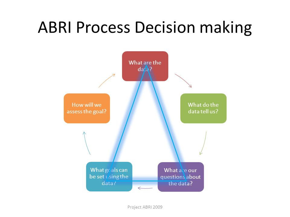 ABRI Process Decision making What are the data. What do the data tell us.