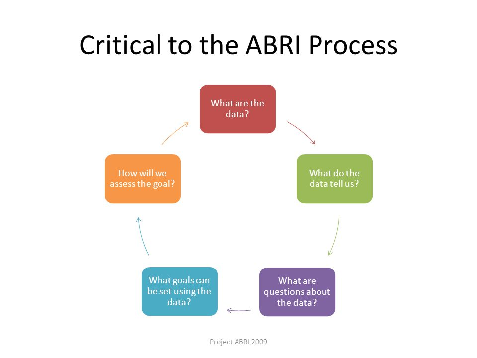 Critical to the ABRI Process What are the data. What do the data tell us.