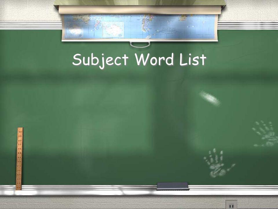 Subject Word List