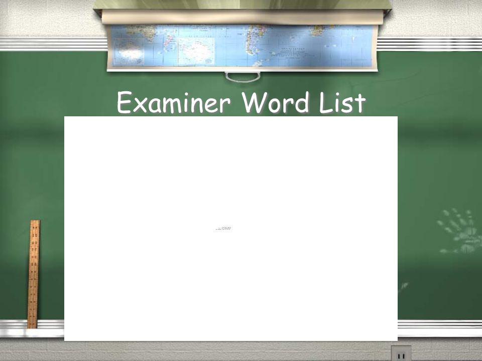 Examiner Word List
