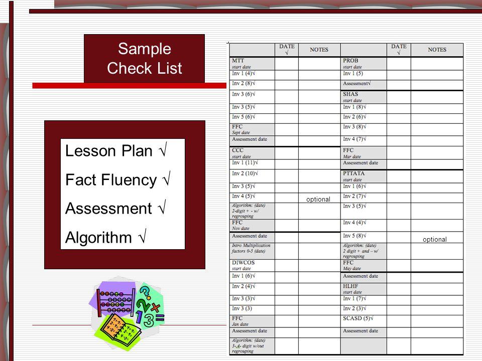 Lesson Plan √ Fact Fluency √ Assessment √ Algorithm √ Sample Check List optional