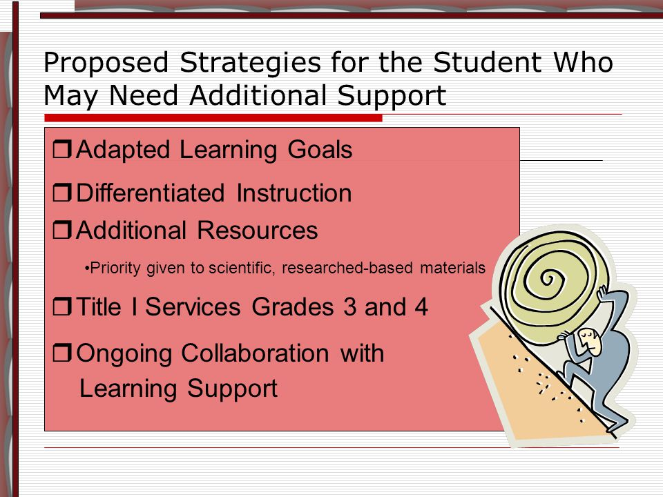 Proposed Strategies for the Student Who May Need Additional Support  Adapted Learning Goals  Differentiated Instruction  Additional Resources Priority given to scientific, researched-based materials  Title I Services Grades 3 and 4  Ongoing Collaboration with Learning Support  Adapted Learning Goals  Differentiated Instruction  Additional Resources Priority given to scientific, researched-based materials  Title I Services Grades 3 and 4  Ongoing Collaboration with Learning Support