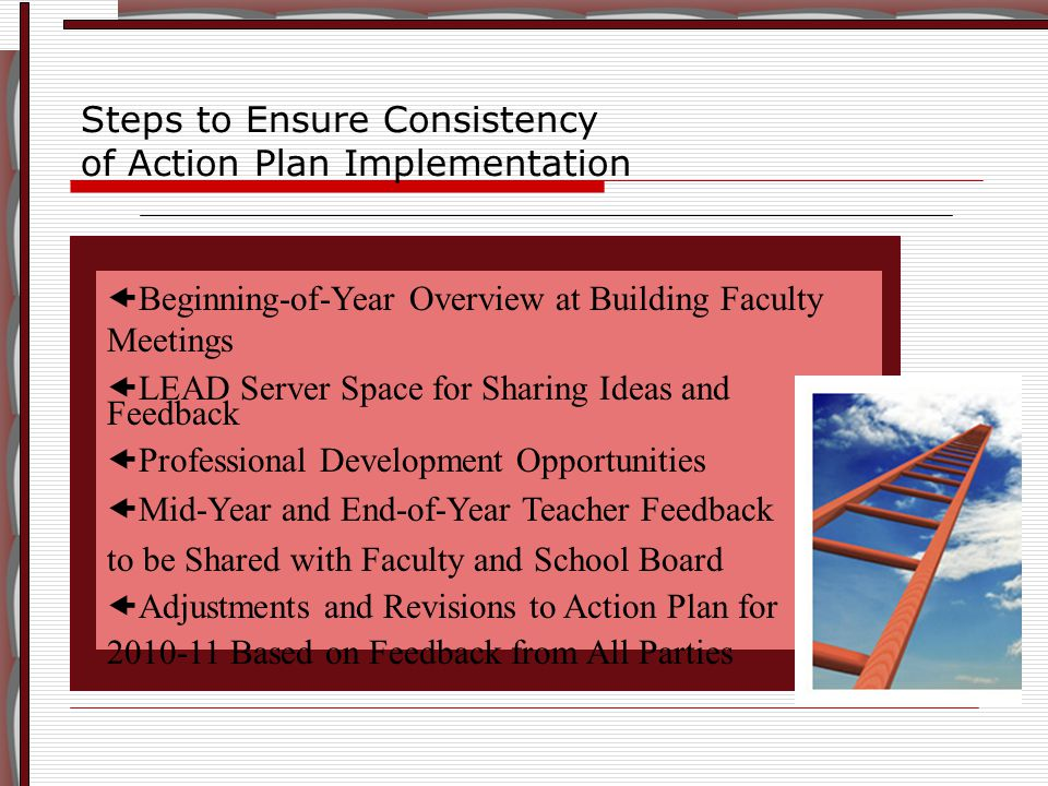  Beginning-of-Year Overview at Building Faculty Meetings  LEAD Server Space for Sharing Ideas and Feedback  Professional Development Opportunities  Mid-Year and End-of-Year Teacher Feedback to be Shared with Faculty and School Board  Adjustments and Revisions to Action Plan for 2010-11 Based on Feedback from All Parties Steps to Ensure Consistency of Action Plan Implementation