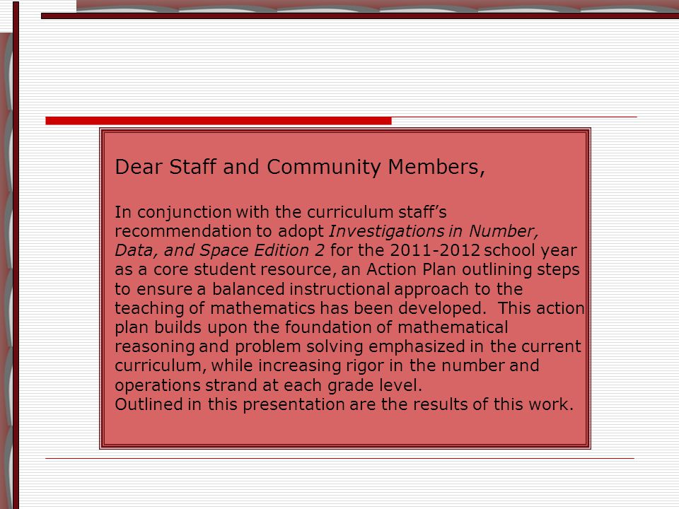 Elementary Mathematics Action Plan OBJECTIVES 1.