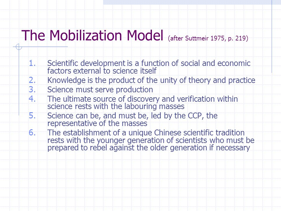 The Mobilization Model (after Suttmeir 1975, p. 219) 1.