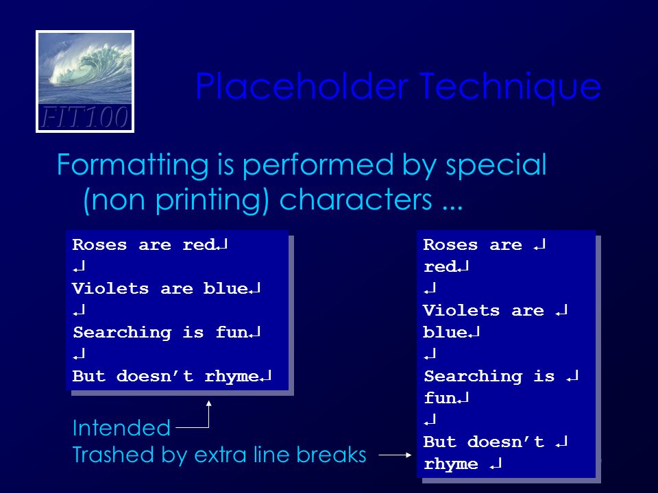 20 Placeholder Technique Formatting is performed by special (non printing) characters...