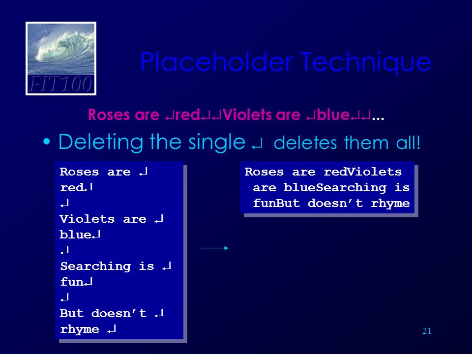 21 Placeholder Technique Roses are  red  Violets are  blue ...