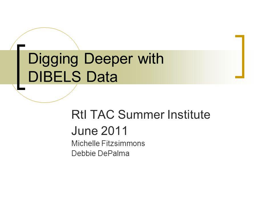 Digging Deeper with DIBELS Data RtI TAC Summer Institute June 2011 Michelle Fitzsimmons Debbie DePalma